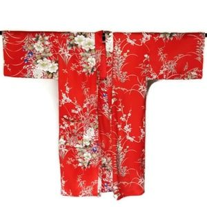 "Red Silk Kimono Happi Coat Floral Pattern New 42"""